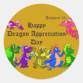 Dragón aprecio día 16 de enero pegatina redonda
