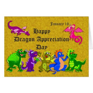 Dragón aprecio día 16 de enero tarjeta de felicitación