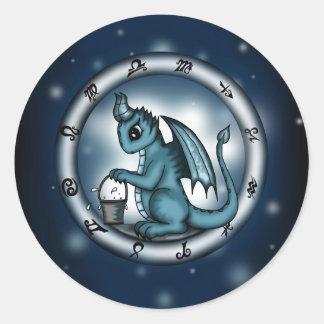 Dragon Aquarius Zodiac Classic Round Sticker