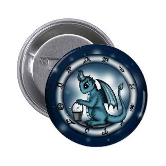 Dragon Aquarius Zodiac Pinback Button