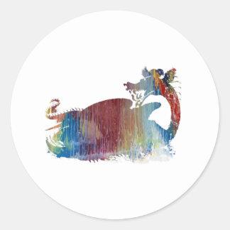 Dragon art classic round sticker