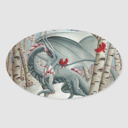 Dragon art, Fantasy art, Lady of the Forest Oval Sticker
