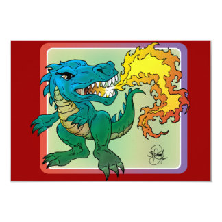 Dragon Art inspired by little t by Scott Rosema 3.5x5 Paper Invitation Card