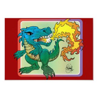 "Dragon Art inspired by little t by Scott Rosema 3.5"" X 5"" Invitation Card"