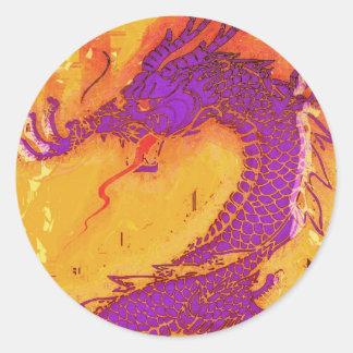 Dragón asiático, chino, mítico, año del dragón pegatina redonda
