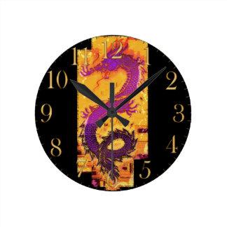 Dragón asiático, chino, mítico, año del dragón reloj redondo mediano