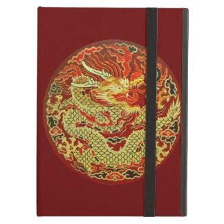 Dragón asiático de oro bordado en rojo oscuro