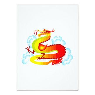 """Dragón asiático en nubes invitación 5"""" x 7"""""""
