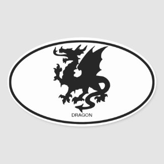Dragón asiático pegatina ovalada