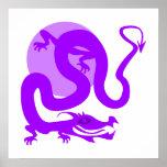Dragón asiático púrpura poster