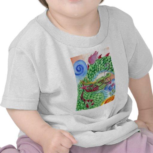 Dragón asiático verde camisetas