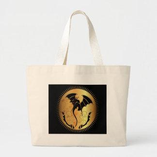 Dragón asombroso en oro y negro bolsas