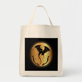 Dragón asombroso en oro y negro bolsa