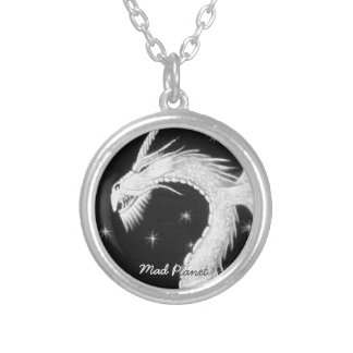 Dragon at Night Painting Silver Plated Necklace