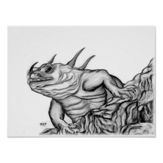 Dragon at the rock black-and-white Design Poster