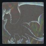 """Dragon Aura Stone Coaster<br><div class=""""desc"""">Extremely cool digital art of a black dragon surrounded by blue aura</div>"""