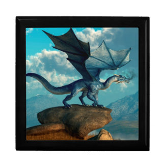 Dragón azul caja de recuerdo
