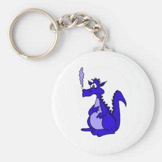 Dragón azul con humo llavero redondo tipo pin