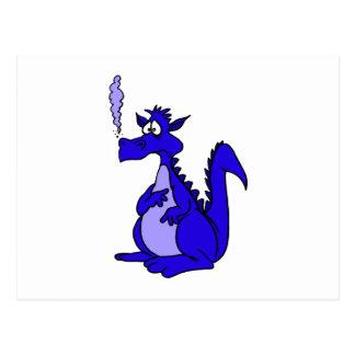 Dragón azul con humo tarjetas postales