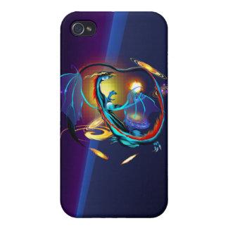 Dragón azul de la galaxia iPhone 4 funda