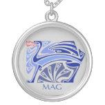 Dragón azul del nouveau del arte con el monograma colgantes personalizados