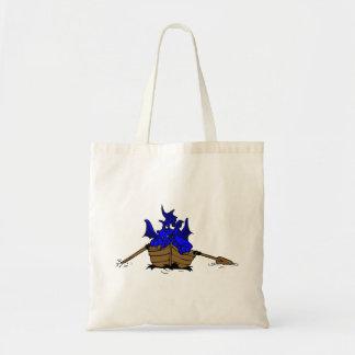 Dragón azul en el barco bolsa tela barata