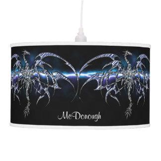 Dragón azul en el cielo del relámpago lámpara de techo