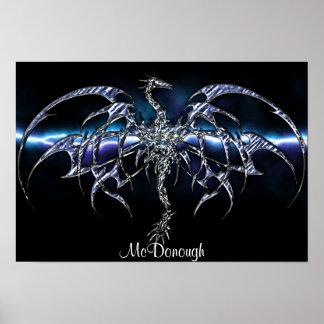 Dragón azul en el cielo del relámpago póster