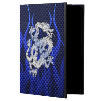 Dragón azul en estilos de la fibra de carbono del