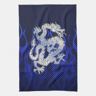 Dragón azul en estilos de la fibra de carbono del toallas de cocina