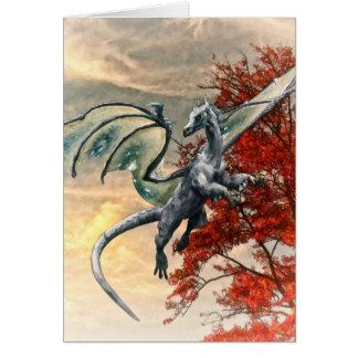 Dragón azul en otoño por el mac de Shawna Tarjeta De Felicitación
