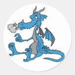 Dragón azul lindo pegatinas redondas