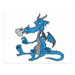 Dragón azul lindo tarjeta postal