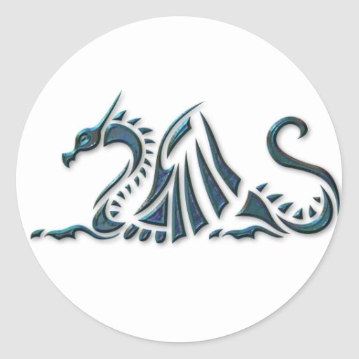 Dragón azul metálico del mar pegatina redonda