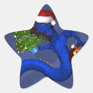 Dragón azul calcomanía forma de estrella personalizadas