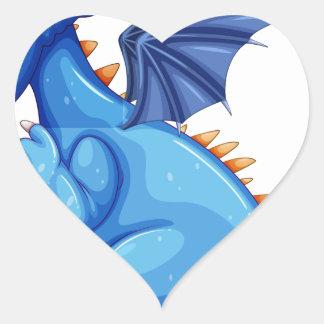 Dragón azul pegatina corazon