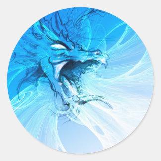 Dragón azul pegatina redonda