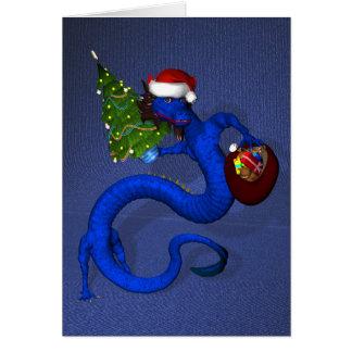 Dragón azul tarjeta de felicitación