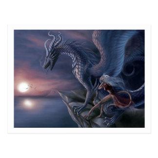 Dragón azul tarjetas postales