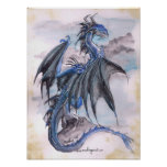 Dragón azul - watercolours póster