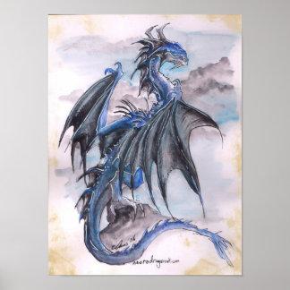 Dragón azul - watercolours póster