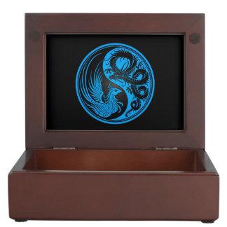Dragón azul y negro Phoenix Yin Yang Cajas De Recuerdos