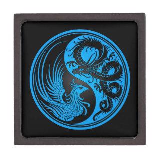 Dragón azul y negro Phoenix Yin Yang Cajas De Joyas De Calidad
