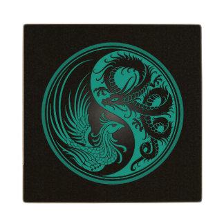 Dragón azul y negro Phoenix Yin Yang del trullo