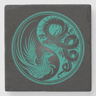 Dragón azul y negro Phoenix Yin Yang del trullo Posavasos De Piedra