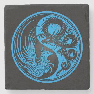 Dragón azul y negro Phoenix Yin Yang Posavasos De Piedra