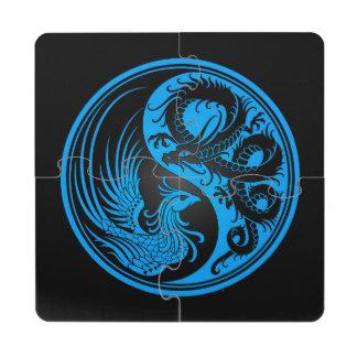 Dragón azul y negro Phoenix Yin Yang Posavasos De Puzzle