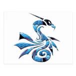 Dragón azul y negro postales