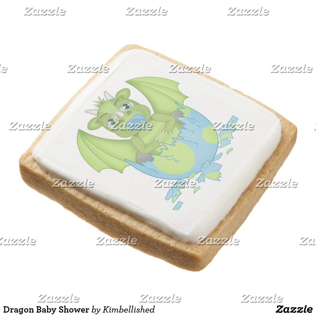 Dragon Baby Shower Square Shortbread Cookie