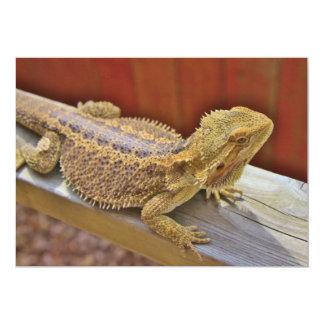 Dragón barbudo de reclinación 2 invitación 12,7 x 17,8 cm